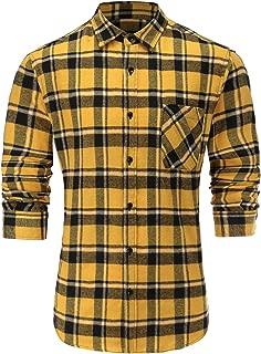 Men's Stylish Flannel Cotton Slim Fit Long Sleeve Plaid Dress Shirt