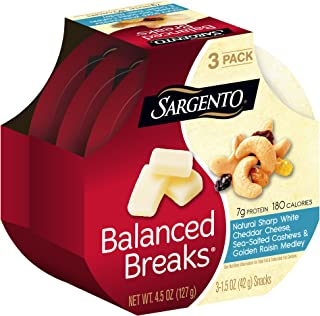 Sargento Balanced Breaks with Natural Sharp White Cheddar Cheese with Cashews and Raisins, 1.5 oz, 3-Pack