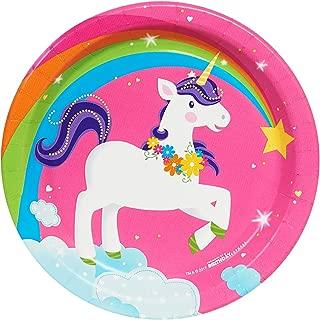 BirthdayExpress Fairytale Unicorn Party Supplies - Dessert Plates