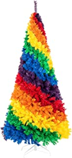 Best Choice Products 7ft Artificial Colorful Rainbow Full Fir Christmas Tree Holiday Seasonal Decoration w/ 1,213 Branch Tips, White Metal Stand