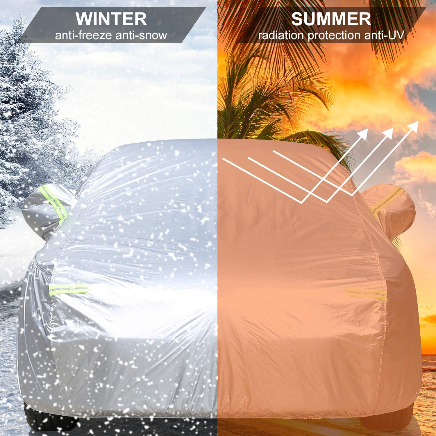 Mieziba Car Cover Waterproof All Weather,6 Layers Car Cover for Automobiles Outdoor Full Cover Sun Hail UV Dust Protection with Zipper,Universal Fit for Sedan up to 190