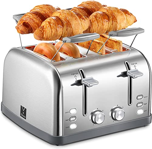 Yabano-4-Slice-Toaster,-Bagel-Toaster-with-7-Bread-Shade-Settings-and-Warming-Rack