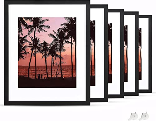 wholesale netuera 2021 11x14 Picture Frames 8x10 5x7 with Mat and 11x14 without Mat for 2021 Wall Mounting and Table Top Set of 5 online sale