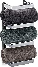 Relaxdays, Zilver/zwart handdoekrek design, vakken voor handdoeken, chroom, hangend handdoekrek, h x b x d: 44 x 18 x 16 cm