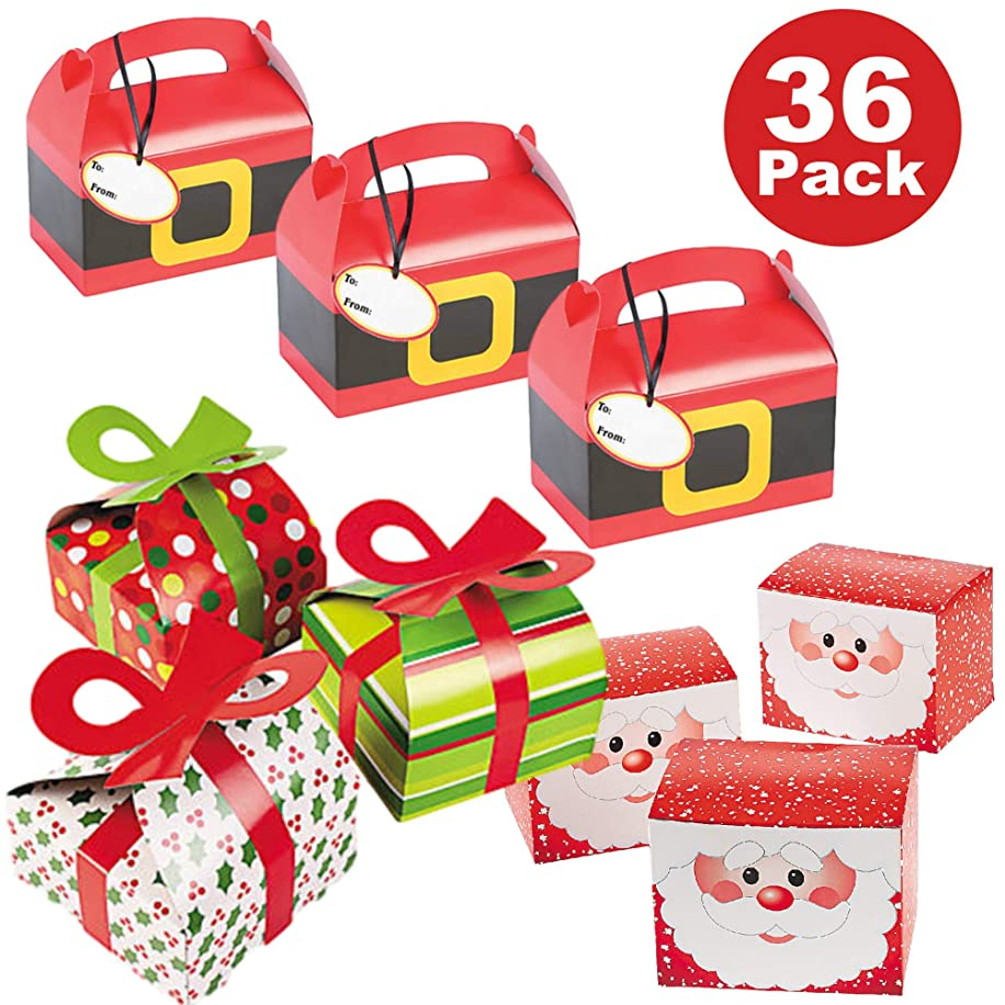 36 Piece Christmas Holiday Party Favor Gift Box Bulk Variety Pack - 12 Santa Suit Treat Boxes, 12 Santa Claus Favor Boxes, 12 Holiday Pattern Boxes with 3D Bows