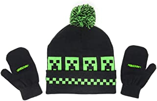 Minecraft Woven Creepers Kids Beanie Hat Cap and Gloves Set New Black