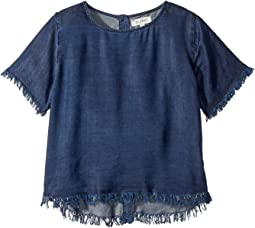 Dark Wash T-Shirt w/ Button Down Back (Little Kids/Big Kids)