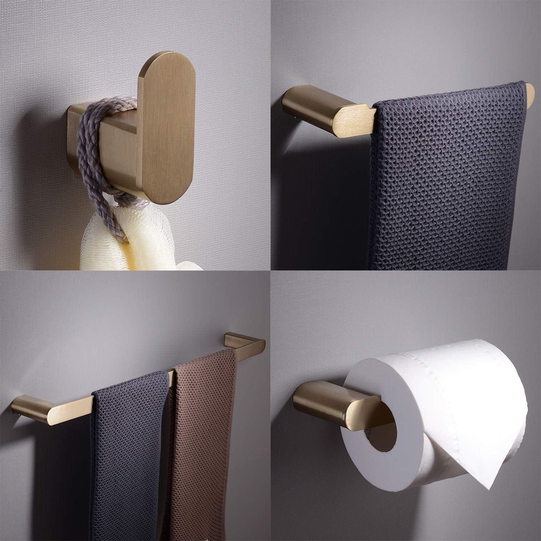 Kiarog 4-Piece Bathroom Hardware Accessory Set Wall Mounted Towel Bar Towel Ring Paper Holder Robe Hook, gold Brush