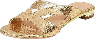 Catwalk Women's Crystal Heel Textured Slip Ons
