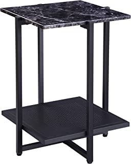 FIVEGIVEN BlackNight StandMarbleSide End TableSmall Modern Square with Metal Shelf, 24.4 Inch