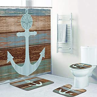 4 Piece Anchor Shower Curtain Sets with Non-Slip Rugs, Toilet Lid Cover and Bath Mat, Nautical Anchor Rustic Wood Shower Curtain with 12 Hooks, Waterproof Shower Curtain
