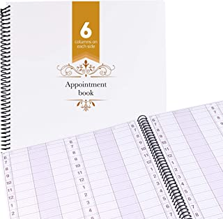 Undated Appointment Book Schedule Reservation – 6 Columns 200 Page Appt Book Organizer with Pen Holder - Hourly Weekly Planner Daily Scheduler for Salon Hairdresser Restaurant Spa Stylist (6 Columns)