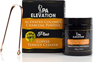 Activated Coconut Charcoal Powder By Spa Elevation: Natural Teeth Whitening Powder - Instant Dental Care Remedy For Brighter, Cleaner, Healthier Teeth & Gums - Free Gift A Copper Tongue Cleaner