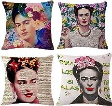 """JLHua 4 pcs Frida Kahlo Self-Portrait Cotton Linen Pillow Case Cover,18"""",Pattern 8"""