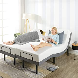 Mellow Adjustable Bed Base Split King Unique Added Head Tilt/Wirless Remote Control, Dual USB Charging Ports
