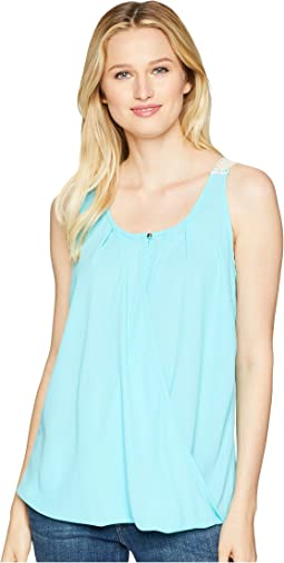 Sleeveless Surplice Crochet Back Top