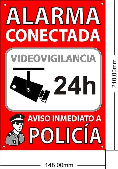 Tu Alarma SIN Cuotas | Cartel Alarma Conectada A5 Interior/Exterior | Placa disuasoria PVC Flexible Cartel Aviso a Policía 21x15 cm Rojo