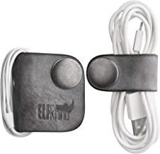 ELFRhino Genuine Leather Headphone Earphone Organizer Cord Organizer Wrap Winder Cord Manager Cable Winder(Set of 2, Gray)