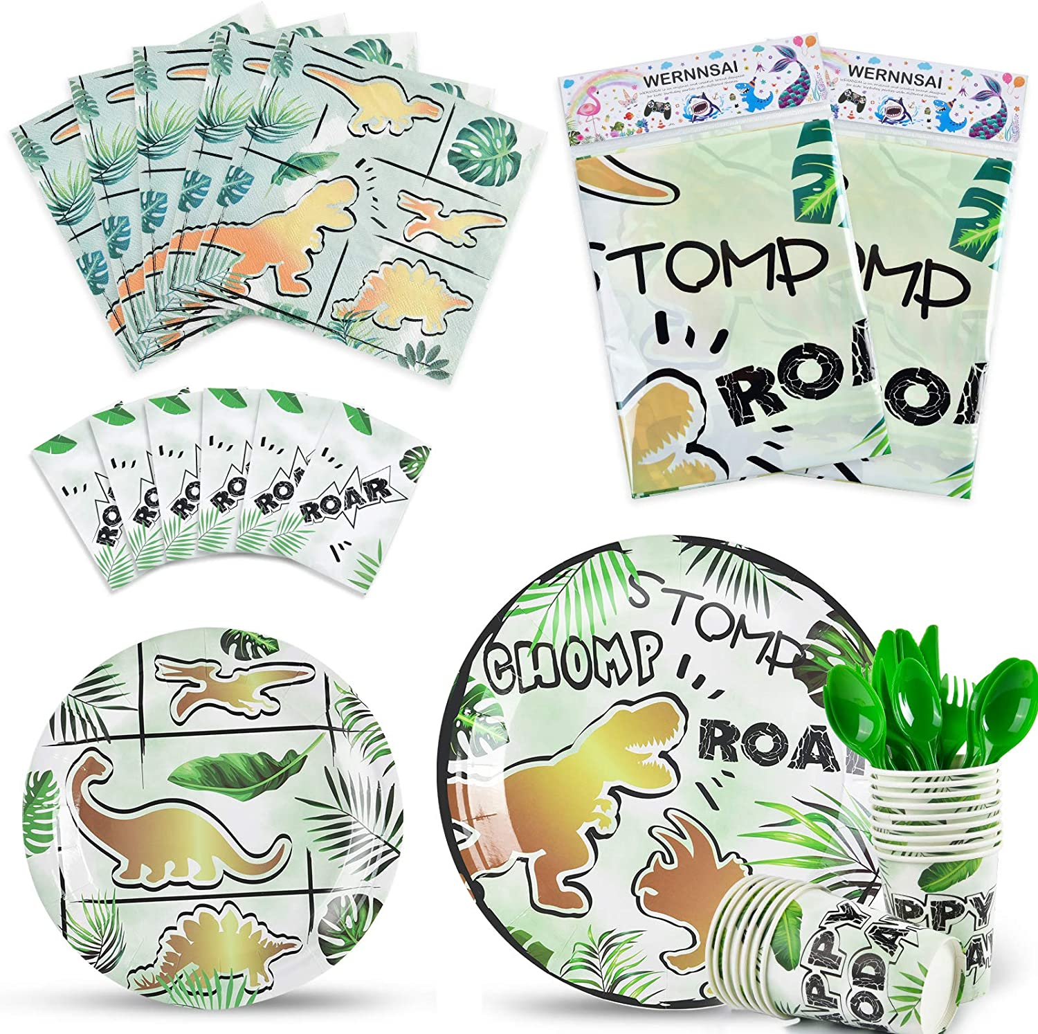 Gold Dinosaur Party Supplies Pack - Dinosaur Party Tableware Set