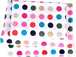 J-pinno Dots Colorful Twin Sheet Set Bedroom Decoration Gift, 100% Cotton, Flat Sheet + Fitted Sheet + Pillowcase Bedding Set (Twin, 18)