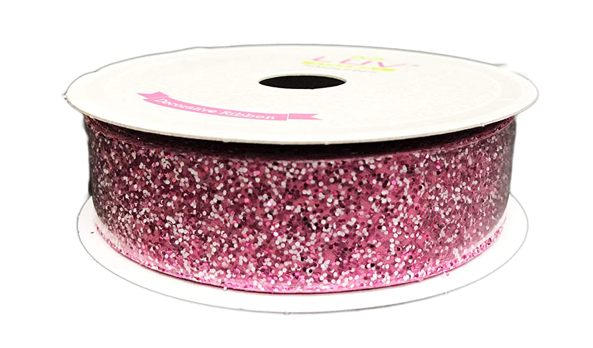 Pink Sparkling Glitter 7/8'' x 30' Decorative Gift Crafting Ribbon