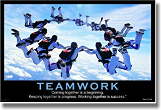 Teamwork - (Sky Diving) Coming Together Is a Beginning. Keeping Together Is Progress. Working Together Is Success. - Henry Ford - Motivational Poster