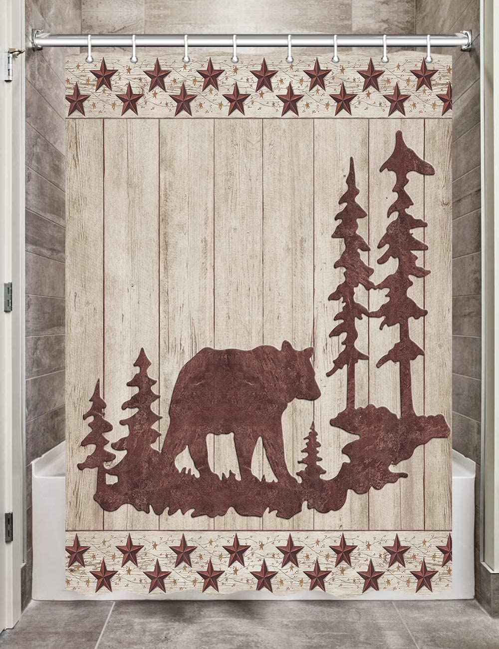 Max 52% OFF Gorgeous Bear RV Shower Curtains for Bathroom Forest Rus Animals Wild in
