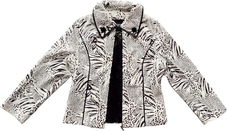 Lisa International Women's Leopard/Zebra Print Long Sleeve Casual Outwear Jacket