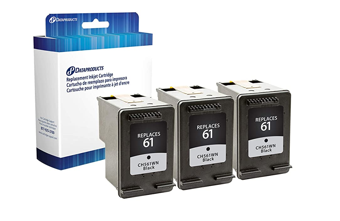 Dataproducts Remanufactured HP 61, All-in-One, Inkjet Cartridge, Black, 3 Pack