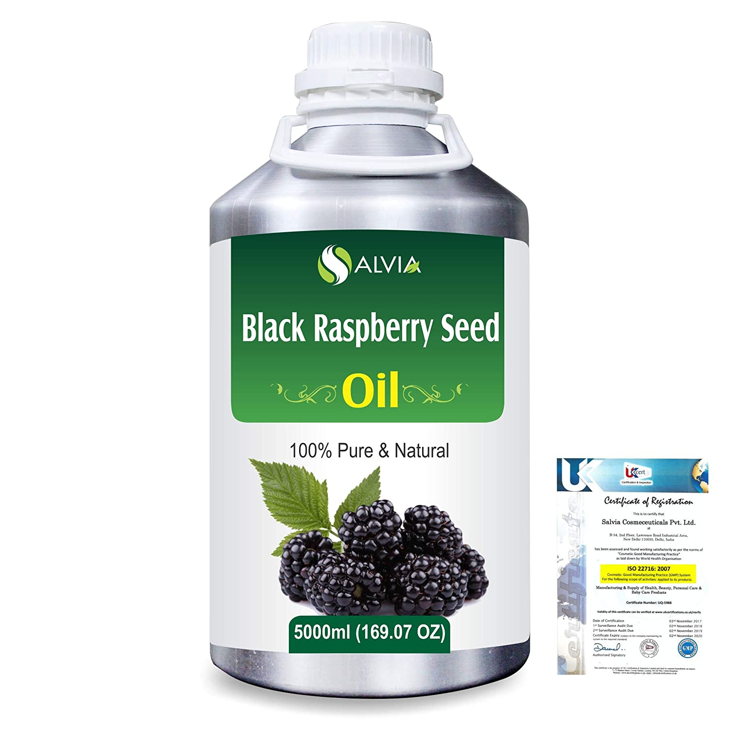 北米ガロン赤ちゃんBlack Raspberry Seed (Rubus occidentalis)100% Natural Pure Carrier Oil 5000ml/169 fl.oz.
