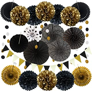ZERODECO Party Decoration, 21 Pcs Black and Gold Hanging Paper Fans, Pom Poms Flowers, Garlands String Polka Dot and Triangle Bunting Flags for Birthday Parties Wedding Décor, Table & Wall Decorations