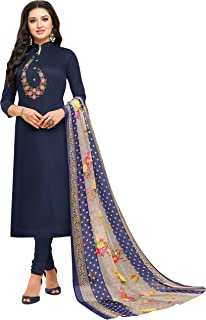 Rajnandini Women's Navy Blue chanderi silk Embroidered Semi-Stitched Salwar Suit Material With Printed Dupatta (Free Size)