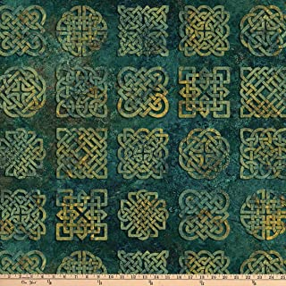 Northcott Stonehenge Solstice Celtic Knot Blocks Teal Fabric Fabric by the Yard