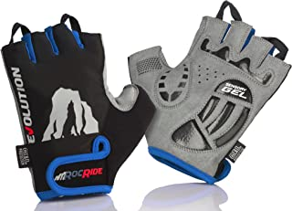 RocRide Cycling Gloves with Gel Padded Protection. Road and Mountain Biking. Half with Pull Tabs Men, Women and Children Sizes.