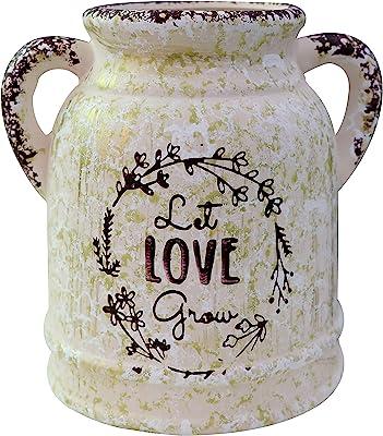 Soyizom Jarrón grande de cerámica rústica, estilo vintage de granja, elegante jarra de leche, maceta de campo, maceta decorativa francesa, con asa para arreglos florales, maceta para el hogar, cocina, decoración de bodas
