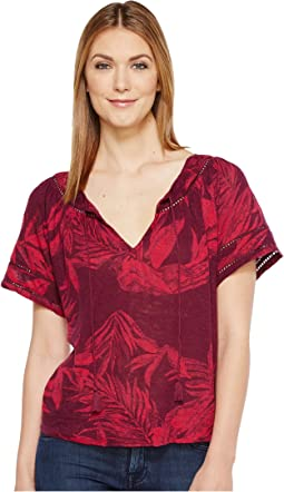 Lucky Brand Tropical Leaves Peasant Top