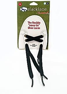 Slacklace - Flat Elastic Shoe Laces - No Lock, No Re-Tie, Black, Medium