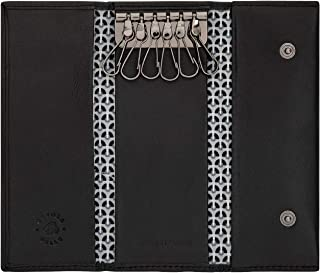Nuvola Pelle Real Leather Key Case Holder Wallet with 6 Hooks for Long Keys Armoured Door Black