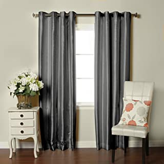 """Brielle Fortune Faux Dupioni Silk Lined Insulated Room Darkeninng Grommet Panel, 50 by 84"""", Silver"""