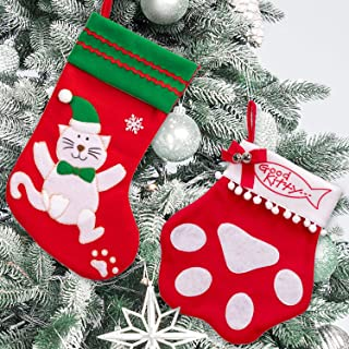Cat And Kitty Paw Christmas Stockings Set Xmas/Winter/Holiday Party Hanging Decorations/Ornaments/Supplies Tree Decor - 2 Ct
