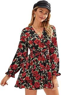 WDIRARA Women's Floral Print V Neck Knot Front Tiered Layer Hem A Line Short Dress