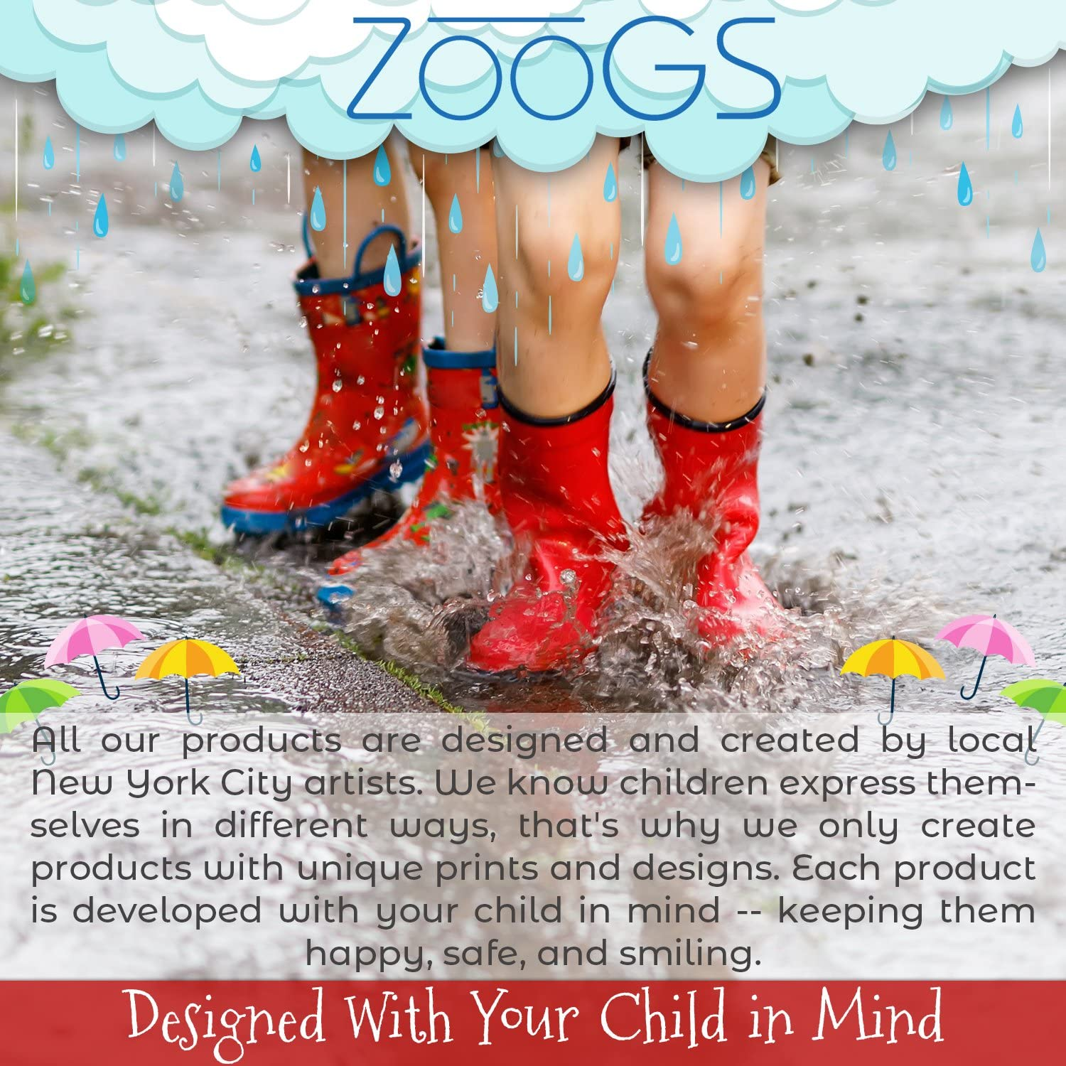 Boys /& Girls Little Kids /& Toddlers ZOOGS Childrens Rain Boots with Handles