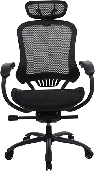 SONGMICS Ergonomic Mesh Office Chair With Adjustable Backrest Headrest Seat Height And Waterfall Armrest Breathable Seat Black UOBN91BK