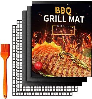 BBQ Grill Mat,HOME-MART 5 Pack(3 Solid Mats * 2 Mesh Mats) Non Stick BBQ Baking Mats Reusable for Charcoal, Gas or Electri...