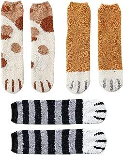 Cat Claw Socks, 3 Pairs Cat Paw Socks Slipper Socks for Women Girls Winter Fuzzy Fluffy Cute Novelty Cat Crew Socks