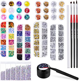 Cridoz 8420 Pcs Rhinestones for Nails, Nail Rhinestones Crystals Nail Gems Jewels Diamond with Nail Gel Glue for Nails Art Supplies Decoration Clothes Shoes