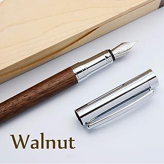 LACHIEVA LUX 高級筆記具 天然木クルミ、ドイツ製のペン先 万年筆ギフトセット 贈り物