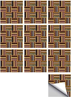 C COABALLA Ethnic Stylish Ceramic Tile Stickers 10 Pieces,Traditional African Oriental Motifs with Tribal Colors Nigerian Culture Elements for Kitchen Living Room,7