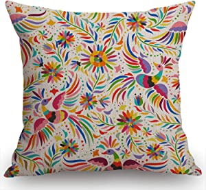 Swono Mexican Floral Decorations Pillow Cover Ethnic Art Birds and Paisley Flowers Farmhouse Decor Throw Pillow Cases Cushion Cover 18 x 18 Inch Home Decoration
