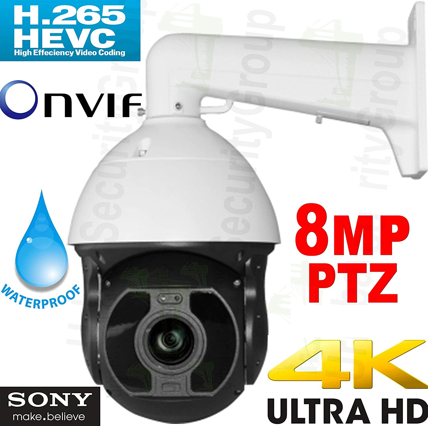 Urban Security Group IP PTZ Ultra 4K 8MP Speed Dome Security Camera : 6-216mm 36x Optical Zoom Auto-Focus Lens, 10x IR German LEDs 500ft, ONVIF, Weatherproof, New Sony IMX334 Chipset : Business Grade